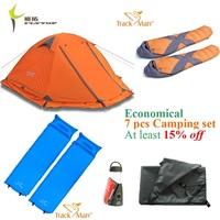 2 Person  Economical 7 pcs camping set: 2 Layer Aluminum Tent Flytop 2PLUS; Sleeping bag TM3301;Inflating mat TM2213...