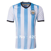 new 2014 world cup Argentina home Blue white soccer football jersey MESSI KUN AGUERO top thai quality soccer jerseys uniforms