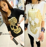 Dropshipping!2014  Autumn Women Blouse Loose Back  Splice chiffon shirt Skull small fragrant  t shirts women