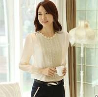 Free Shipping Korean Style Women Lace Tops 2014 Summer Fashion Elegant OL Slim Chiffon Shirt With Beading Flowers S M L XL XXL