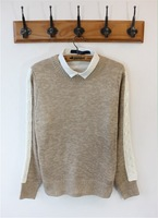 Autumn and winter slim casual british style male sweater patchwork sweater