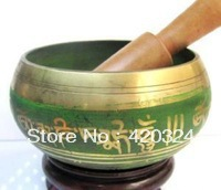 OM MANI PADME HUM Bronze GENUINE FORTUNE CARVED TIBET SINGING BOWL&STRIKE OLD YOGA RARE GREEN
