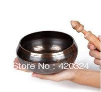 OM MANI PADME HUM Bronze Tibetan Copper Crafted Gold Gilt bowl GENUINE FORTUNE CARVED TIBET SINGING BOWL&STRIKE