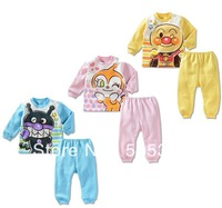 90-130cm 3 colours full cotton baby cute cartoon autumn 2 pcs suit children homewear sets baby clothing baby long sleeve sets