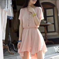 Short in front long-sleeved loose waist irregular temperament chiffon dress,free shipping wholesale 3 days Leading,one piece/lot