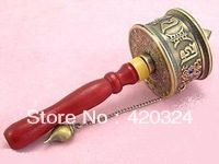OM MANI PADME HUM Bronze Tibetan Tibet Buddhism Mantras Cimelia Copper Prayer Wheel