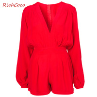 Richcoco fashion sexy V-neck long-sleeve high waist chiffon one piece shorts jumpsuit d148