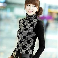 Korean cheap new high-necked thermal underwear thick velvet long-sleeved shirt,free shipping,wholesale price,one day leading