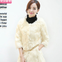Fur women's 2013 slim medium-long three quarter sleeve o-neck rabbit fur coat sweet