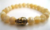 Yellow/White Jade Tibetan Buddha Wrist Mala