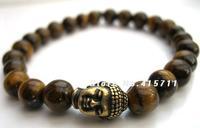 Mens Tigers Eye Tibetan Buddha Bracelet
