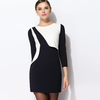 2013 Fashion autumn and winter plus size ol long-sleeve slim women's high quality basic one-piece dress Christmas gift