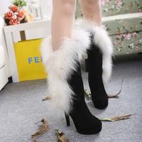 2014 fashion fox fur winter genuine leather high-heels shoes women's high-leg tall boots
