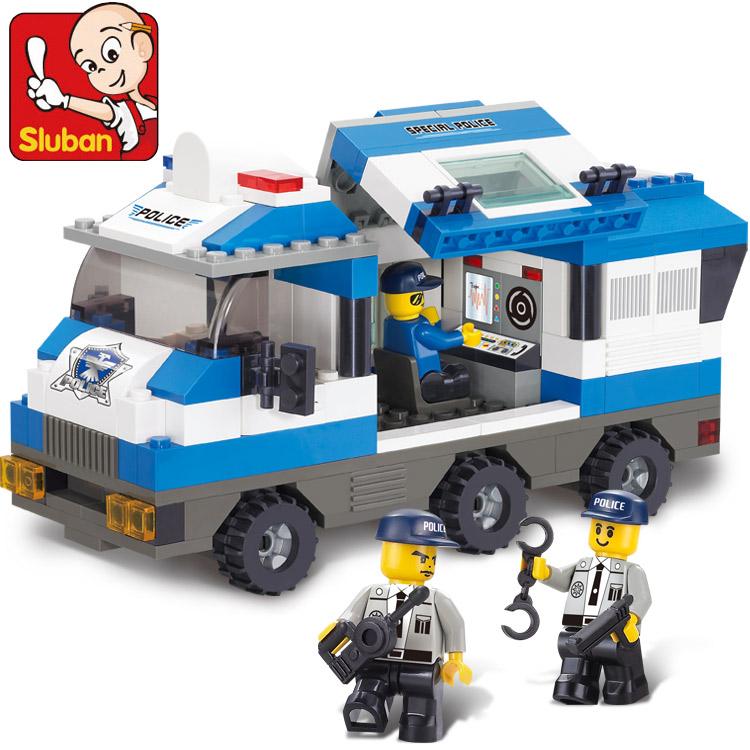 Lubanjiang small assembling building blocks command vehicle assembled educational toys for boy car(China (Mainland))
