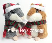 Original Russian Talking Hamster Plush Animal Toys Christmas Recording Hamster Doll Christmas Gift Baby Toy 15cm