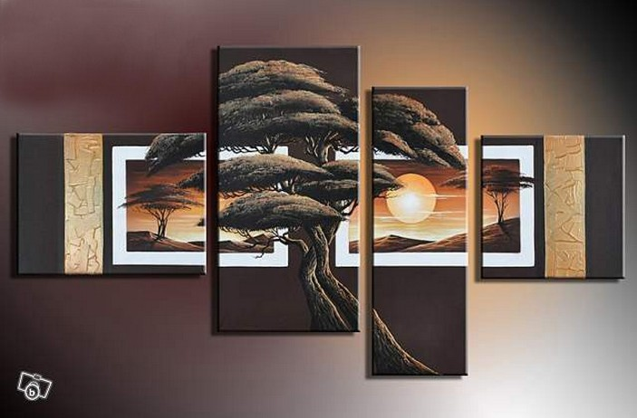 Handmade Banyan Pictures Abstract Landscape Wall Decor On Wall Oil Painting On Canvas 4pcs/set Art Brownness View Sun Craft Art(China (Mainland))