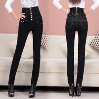 TDV S - 4XL Promotion 2014 New European Style Skinny Show Thin High Waist Pencil Pants Women Black Sexy Denim Jeans Trousers