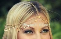 2013 coins Fashion Head Chain Simple Metal Chain Hair Jewelry Head Band