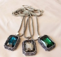 new 2013 Baroque Simple square big crystal long chain necklaces & pendants