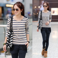 Autumn new arrival 2013 AYILIAN epaulette button patchwork stripe long-sleeve T-shirt SEMIR women's slim basic shirt