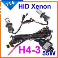 55W hid xenon bulb h4-3 high low h4 hi lo h/l bi Conversion Kit Lamp Light  12V 3000k,4300k,6000k,8000k,10000k