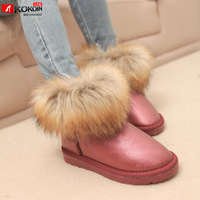 free shipping Fashion vintage fox fur snow boots soft leather boots thermal wool boots winter boots cotton boots