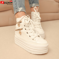 free shipping Autumn side zipper decoration lacing high platform wedges casual shoes single shoes female shoes