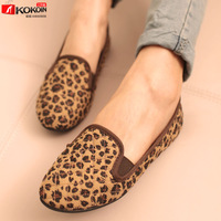 free shipping Spring autumn new arrival leopard print plaid flat heel round toe flat casual shoes single shoes female shoes