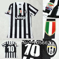 Free Shipping 13-14 topThailand quality juventus home Football Jersey with Serie A patches juventus black/white jerseyonly shirt