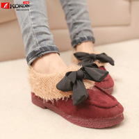 free shipping Winter sweet bow roll up hem casual low-heeled low single shoes female shoes