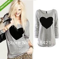 New Fashion Women's Casual Batwing Long Sleeve Loose Heart Print Top Blouse T-Shirt roupas femininas Size S M L XL