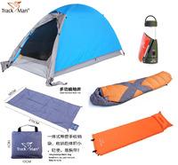 TrackMan 1 Person 5 pieces Camping set: 2 Layer Aluminum Pole Tent  TM1206;Sleeping bag TM3301;Outdoor mat TM2213...