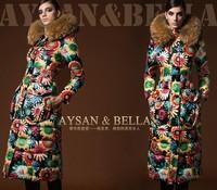 New Arrivel European Fashion Women's Winter  Luxury Raccoon Fur Colorful Floral Print Fancy X-long Hooded Down Coats F15281