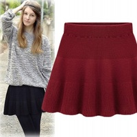 11.11 38 knitted  fashion short half-length skirt a slim hip pleated step skirt