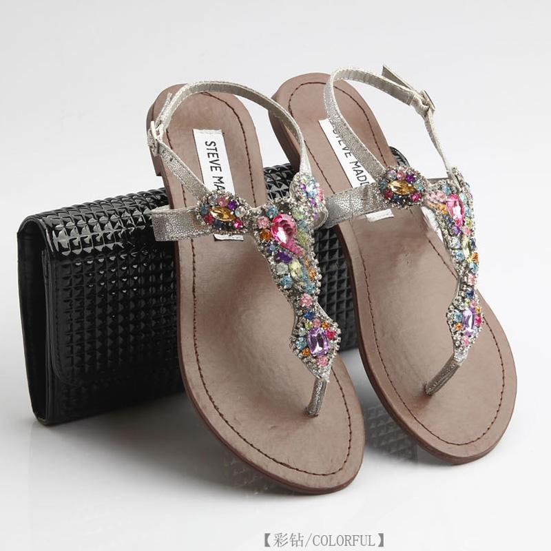 Free shipping fashion national 2013 trend rhinestone diamond women's flat shoes genuine leather sandals bohemia(China (Mainland))