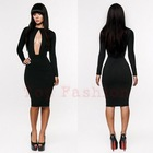 New fashion 2014 bandage dress black bodycon dress sexy women dresses  sexy women elegant black(China (Mainland))