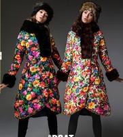 Stunning!!!Designer Brand Fashion Rex Rabbit Hair Hooded Floral Down Coats Long Warm Fashion Down Parkas Outwear F15163