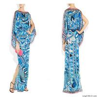 2014 New European and American fashion catwalk models ultra long blue dress loose 100% silk dress maxi dress runway full dress