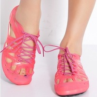 {D&T Shop} 2013 New   Women Crystal Flat Heel Hole Sandals  Jelly Discoloration Sandals For Women  Wholesale Free Shipping