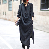 FREE SHIPPING Fashion irregular pleated smilehotel it ultra long paragraph shirt