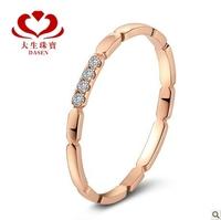 DASEN brand Row ring CERTIFIED I-J / SI ROUND CUT 18K rose GOLD DIAMOND ENGAGEMENT RING 111W-5