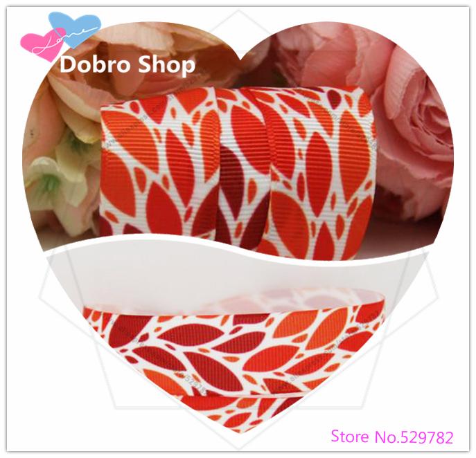 "Newest 7/8"" 22MM Cute Cartoon Hot Red Leaves Printed Grosgrain Ribbon,Tape for Hari/Garment Accessories,100 Yards/lot(China (Mainland))"