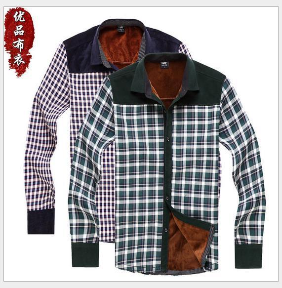 Fashion Men Chaud Shirt Thermal Clothing Long Sleeve Plaid