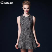 Romeza 2013 fashion o-neck mid waist sleeveless pleated slim woolen one-piece dress