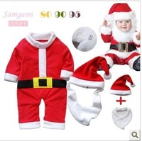 3pcs/lot baby boy's long sleeve 3-piece set 2013 autumn christmas santa romper+bibs+hat infant set baby clothes kids wear