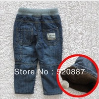 FREE SHIPPING!2013 New Kids cotton plus velvet jeans denim trousers Boys