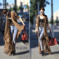 2014 summer women's leopard printed chiffon beach dress bohemian long-sleeve sexy ruffles cardigen long dress casual cover up