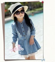Kids Girls Dress 2-7Y fashion Lovely Denim Blue Beautiful Lace princess dress children's clothing babys dress