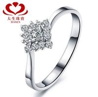 "DASEN brand,18 k gold female ""1.5 carat result "" 0.2 CT natrual stone wedding ring stone ring"