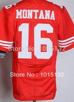 San Francisco #16 Joe Montana Jersey White, Red Stitched Elite American Football Jersey Free Shipping